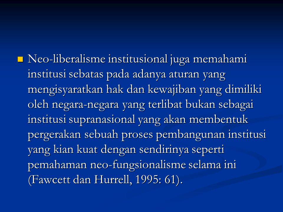 Neo-liberalisme institusional juga memahami institusi sebatas pada adanya aturan yang mengisyaratkan hak dan kewajiban yang dimiliki oleh negara-negar