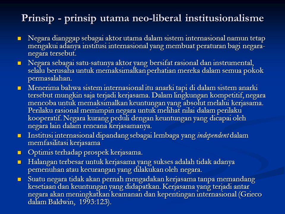 Prinsip - prinsip utama neo-liberal institusionalisme Negara dianggap sebagai aktor utama dalam sistem internasional namun tetap mengakui adanya insti
