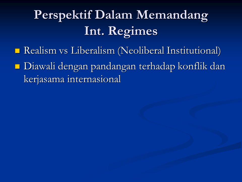 Perspektif Dalam Memandang Int. Regimes Realism vs Liberalism (Neoliberal Institutional) Realism vs Liberalism (Neoliberal Institutional) Diawali deng