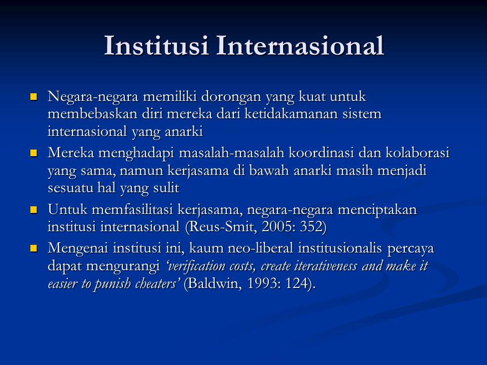 Institusi Internasional Negara-negara memiliki dorongan yang kuat untuk membebaskan diri mereka dari ketidakamanan sistem internasional yang anarki Ne