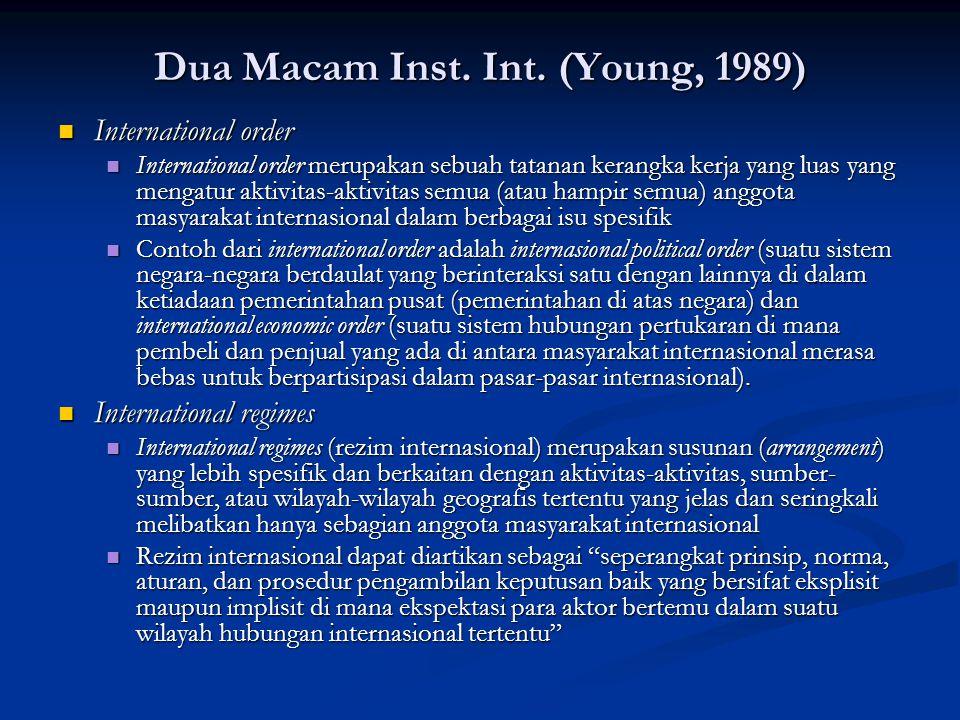 Dua Macam Inst. Int. (Young, 1989) International order International order International order merupakan sebuah tatanan kerangka kerja yang luas yang