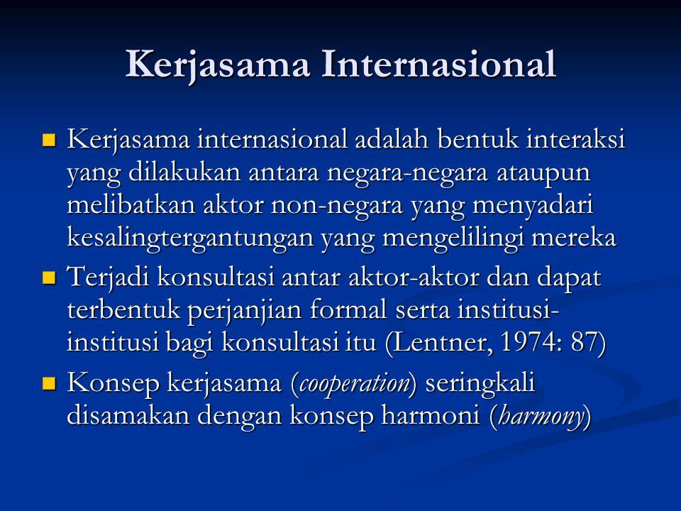 Kerjasama Internasional Kerjasama internasional adalah bentuk interaksi yang dilakukan antara negara-negara ataupun melibatkan aktor non-negara yang m