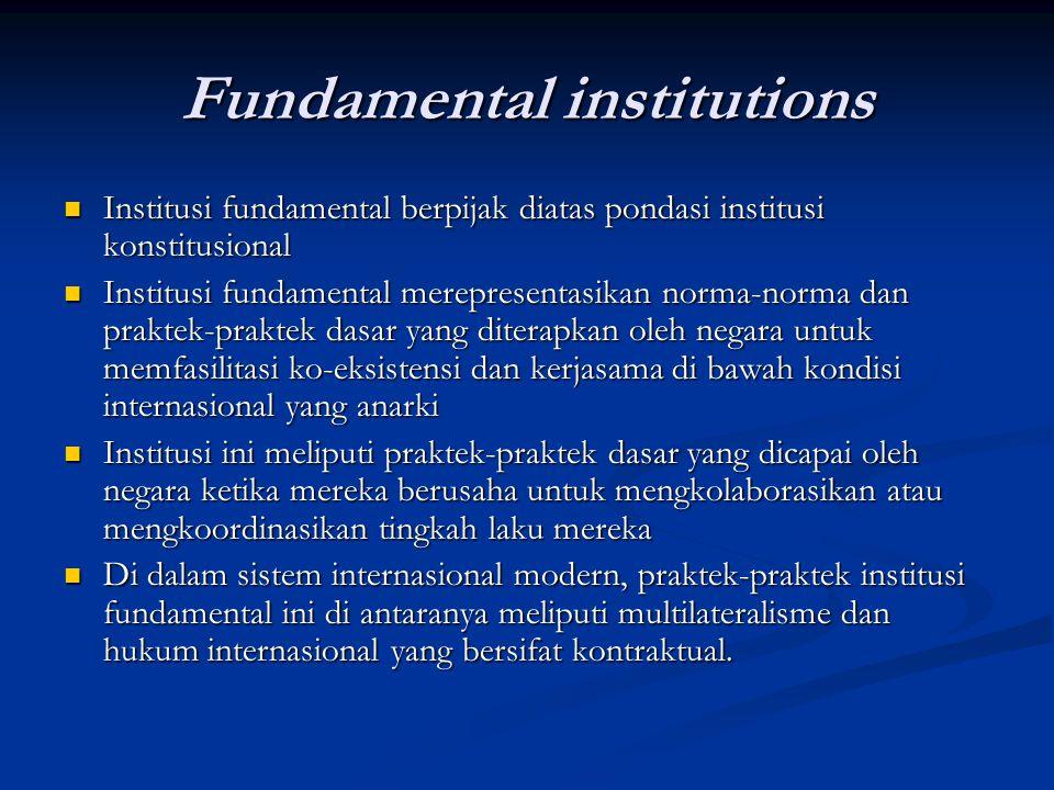Fundamental institutions Institusi fundamental berpijak diatas pondasi institusi konstitusional Institusi fundamental berpijak diatas pondasi institus