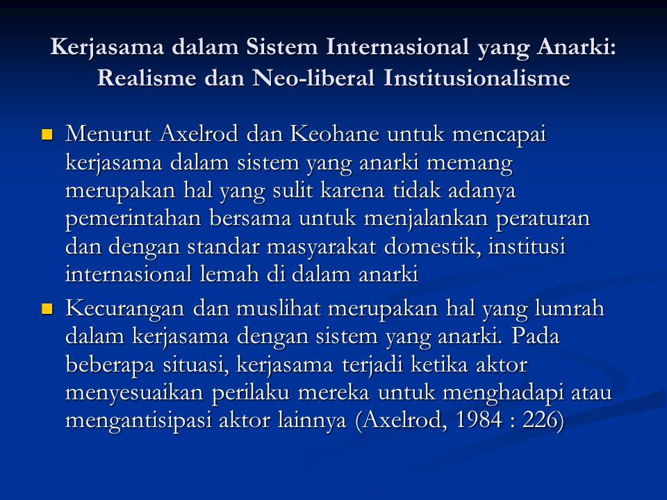 Kerjasama dalam Sistem Internasional yang Anarki: Realisme dan Neo-liberal Institusionalisme Menurut Axelrod dan Keohane untuk mencapai kerjasama dala