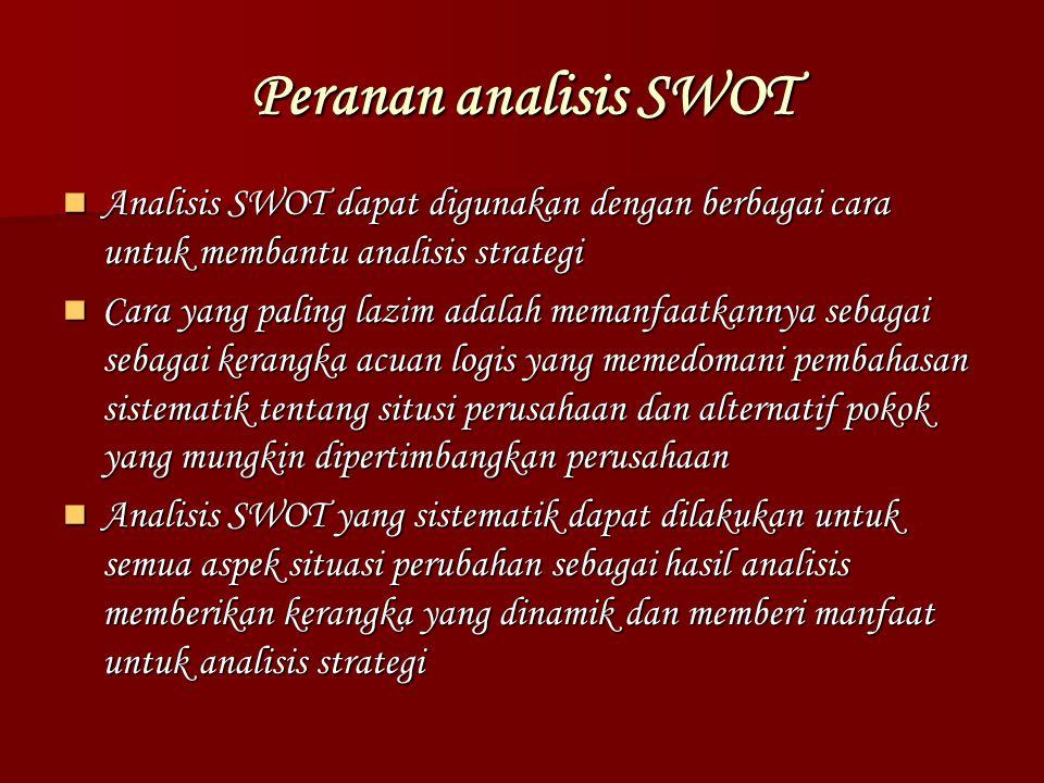 Peranan analisis SWOT Analisis SWOT dapat digunakan dengan berbagai cara untuk membantu analisis strategi Analisis SWOT dapat digunakan dengan berbaga