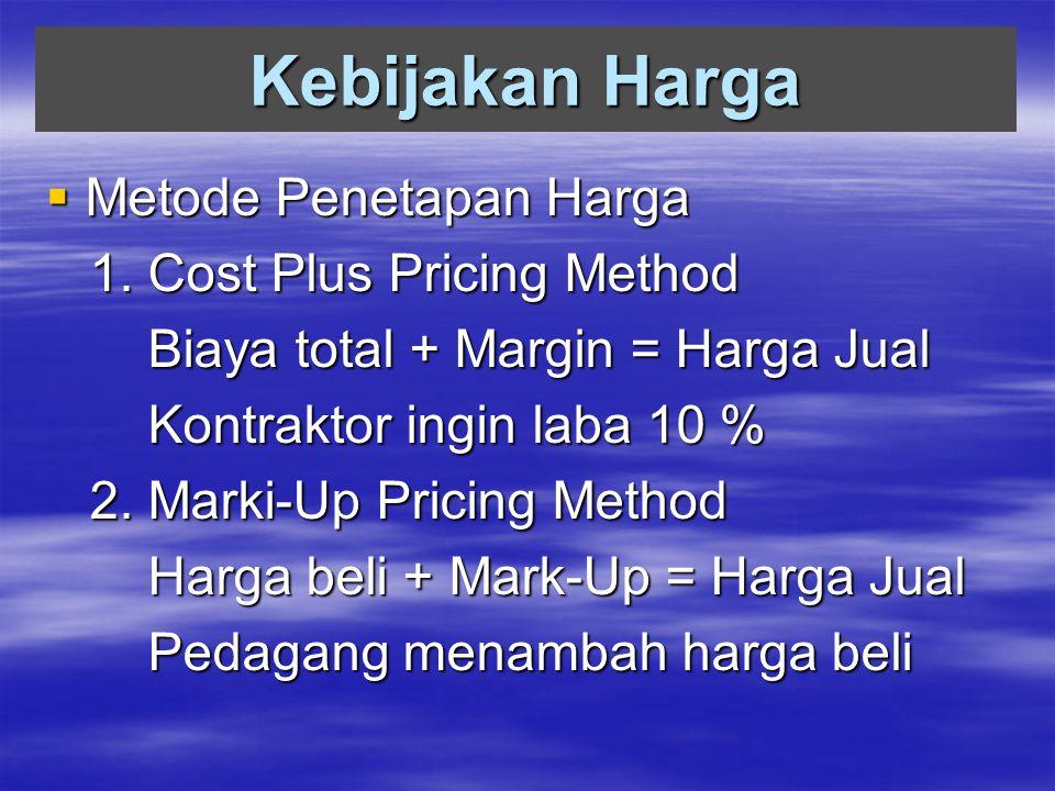 Kebijakan Harga  Metode Penetapan Harga 1. Cost Plus Pricing Method 1. Cost Plus Pricing Method Biaya total + Margin = Harga Jual Biaya total + Margi