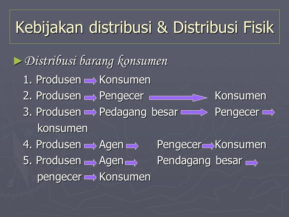 Kebijakan distribusi & Distribusi Fisik ► Distribusi barang konsumen 1. ProdusenKonsumen 1. ProdusenKonsumen 2. ProdusenPengecerKonsumen 2. ProdusenPe