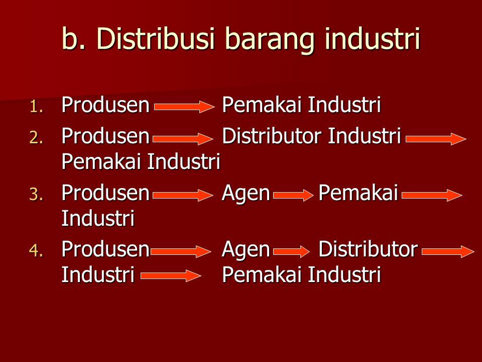 b. Distribusi barang industri 1. ProdusenPemakai Industri 2. ProdusenDistributor Industri Pemakai Industri 3. ProdusenAgenPemakai Industri 4. Produsen