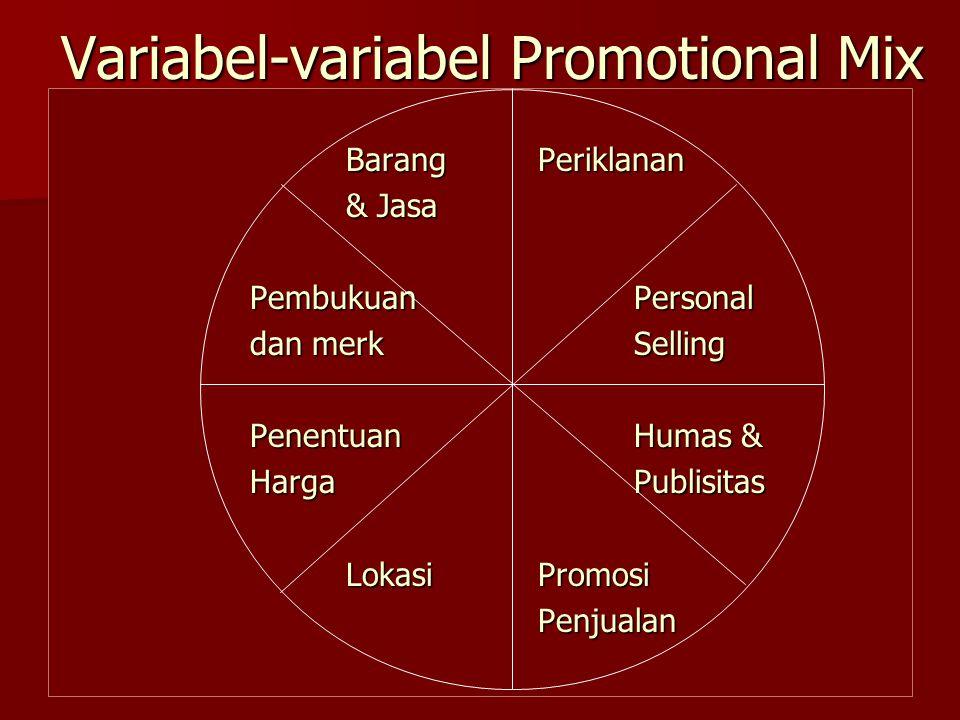 Variabel-variabel Promotional Mix BarangPeriklanan & Jasa PembukuanPersonal dan merkSelling PenentuanHumas & HargaPublisitas LokasiPromosi Penjualan