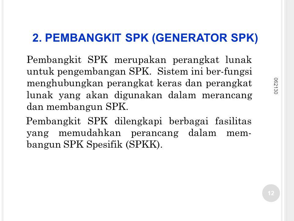 2. PEMBANGKIT SPK (GENERATOR SPK) Pembangkit SPK merupakan perangkat lunak untuk pengembangan SPK. Sistem ini ber-fungsi menghubungkan perangkat keras