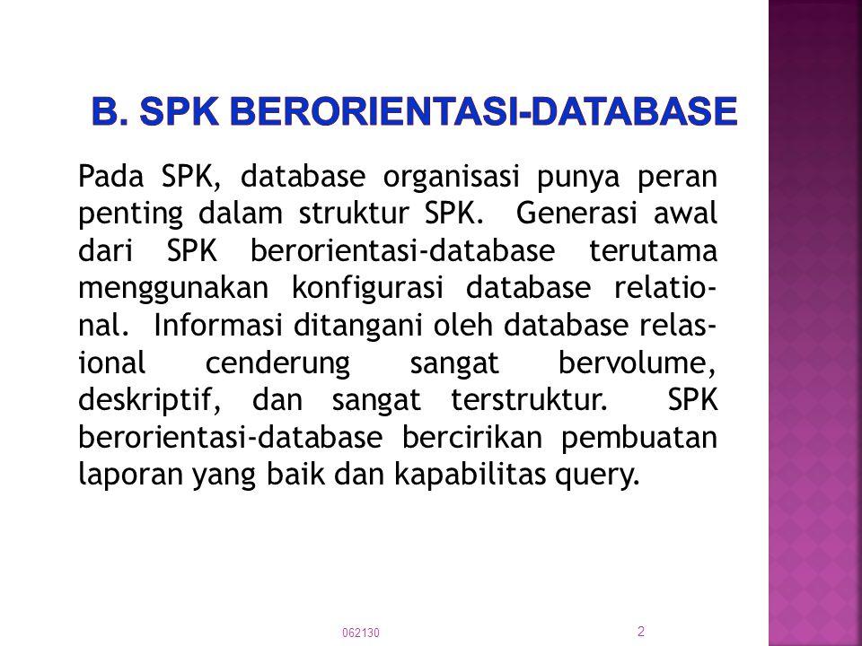 Pada SPK, database organisasi punya peran penting dalam struktur SPK. Generasi awal dari SPK berorientasi-database terutama menggunakan konfigurasi da