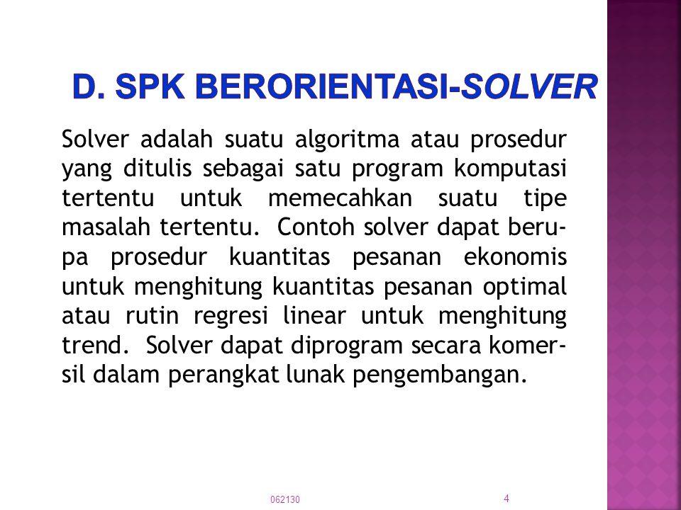 Solver adalah suatu algoritma atau prosedur yang ditulis sebagai satu program komputasi tertentu untuk memecahkan suatu tipe masalah tertentu. Contoh