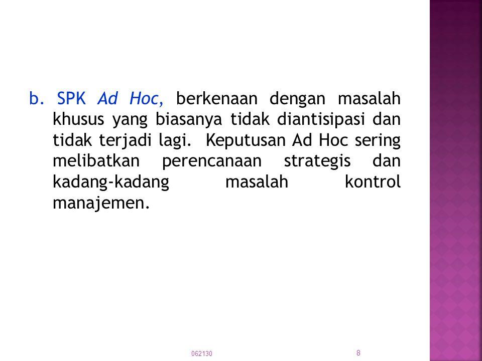 b. SPK Ad Hoc, berkenaan dengan masalah khusus yang biasanya tidak diantisipasi dan tidak terjadi lagi. Keputusan Ad Hoc sering melibatkan perencanaan