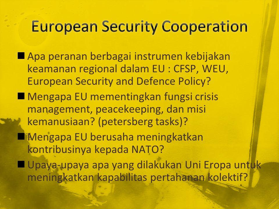 Apa peranan berbagai instrumen kebijakan keamanan regional dalam EU : CFSP, WEU, European Security and Defence Policy? Mengapa EU mementingkan fungsi