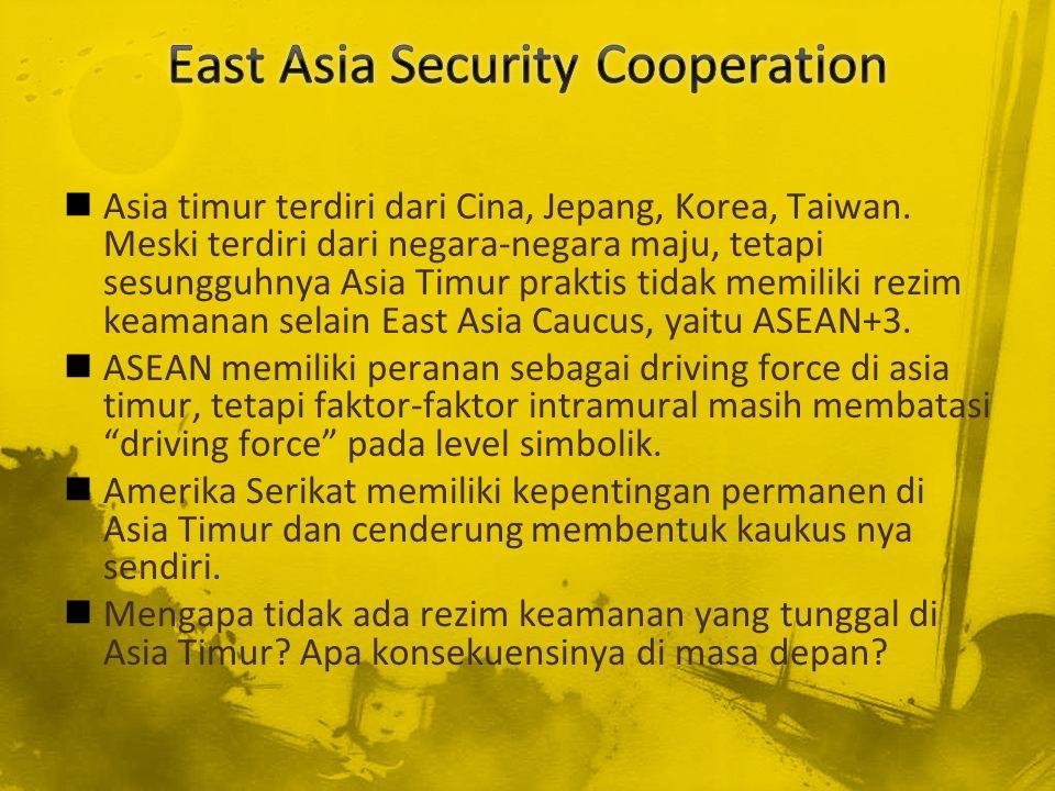 Asia timur terdiri dari Cina, Jepang, Korea, Taiwan. Meski terdiri dari negara-negara maju, tetapi sesungguhnya Asia Timur praktis tidak memiliki rezi