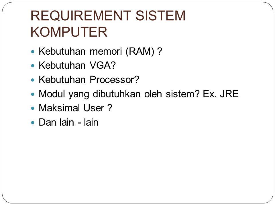 REQUIREMENT SISTEM KOMPUTER Kebutuhan memori (RAM) .