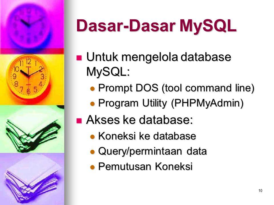 10 Untuk mengelola database MySQL: Untuk mengelola database MySQL: Prompt DOS (tool command line) Prompt DOS (tool command line) Program Utility (PHPM