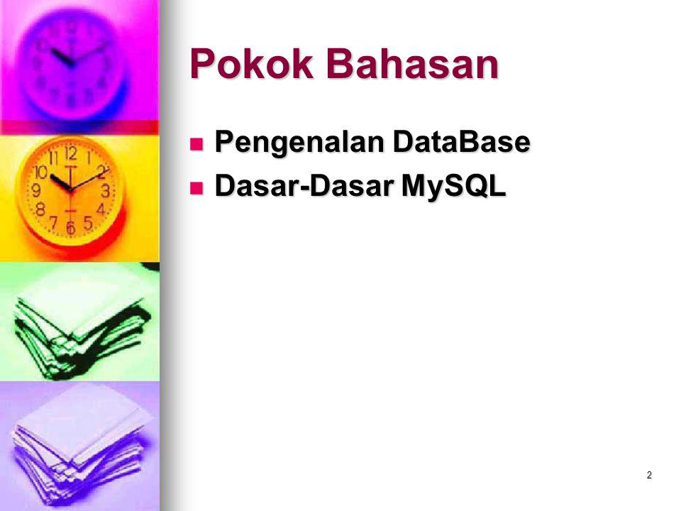 3 Pengenalan DataBase Database adalah kumpulan data yang tersusun secara sistematis sehingga akan memudahkan pengguna untuk mengakses dan mengatur sehingga akan menghasilkan sebuah informasi yang efektif dan efisien.