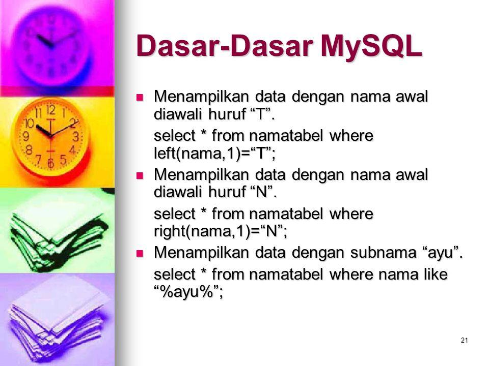 """21 Menampilkan data dengan nama awal diawali huruf """"T"""". Menampilkan data dengan nama awal diawali huruf """"T"""". select * from namatabel where left(nama,1"""