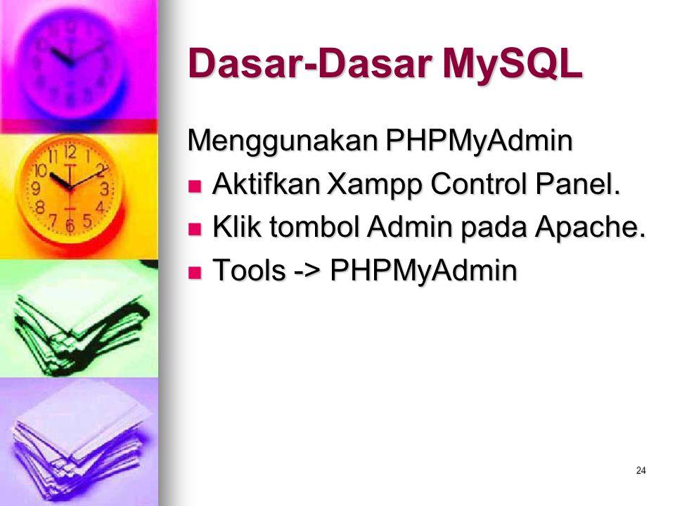 24 Menggunakan PHPMyAdmin Aktifkan Xampp Control Panel. Aktifkan Xampp Control Panel. Klik tombol Admin pada Apache. Klik tombol Admin pada Apache. To