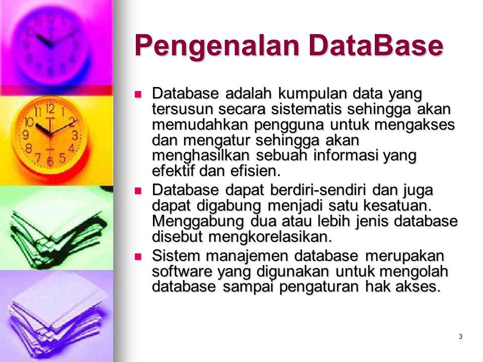 3 Pengenalan DataBase Database adalah kumpulan data yang tersusun secara sistematis sehingga akan memudahkan pengguna untuk mengakses dan mengatur seh