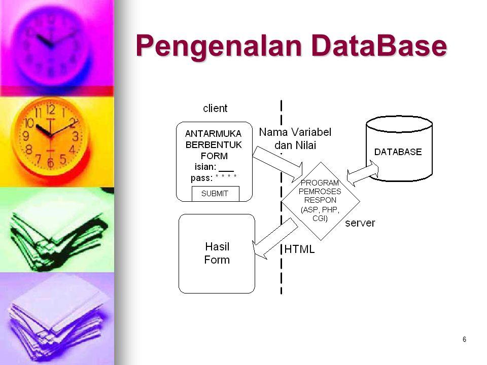 7 Dasar-Dasar MySQL Dalam bahasa SQL pada umumnya informasi tersimpan dalam tabel-tabel yang secara logic merupakan struktur dua dimensi terdiri dari baris (row atau record) dan kolom (column atau field).
