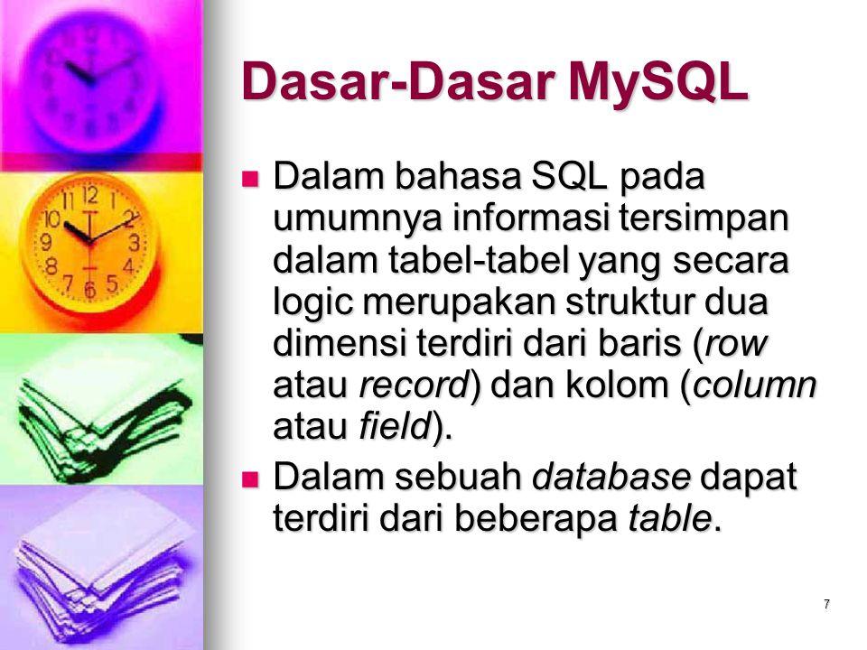 7 Dasar-Dasar MySQL Dalam bahasa SQL pada umumnya informasi tersimpan dalam tabel-tabel yang secara logic merupakan struktur dua dimensi terdiri dari