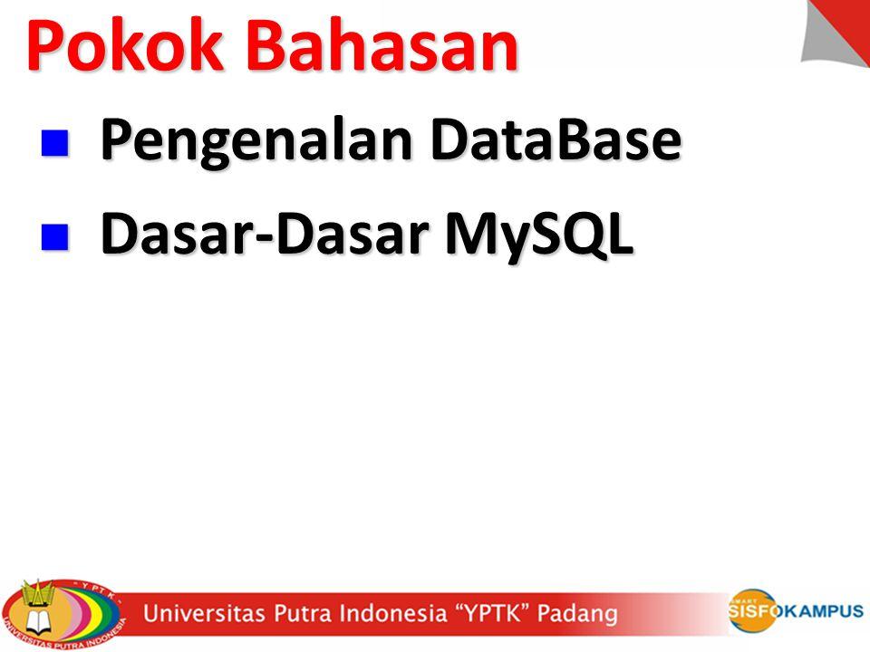 Mengelola Database dengan Prompt DOS: Cara untuk membuat sebuah database baru adalah dengan perintah: create database namadatabase; Cara untuk membuat sebuah database baru adalah dengan perintah: create database namadatabase; Contoh: create database db_kampus; Untuk membuka sebuah database dapat menggunakan perintah berikut ini: use namadatabase; Untuk membuka sebuah database dapat menggunakan perintah berikut ini: use namadatabase; Contoh: use db_kampus; Dasar-Dasar MySQL