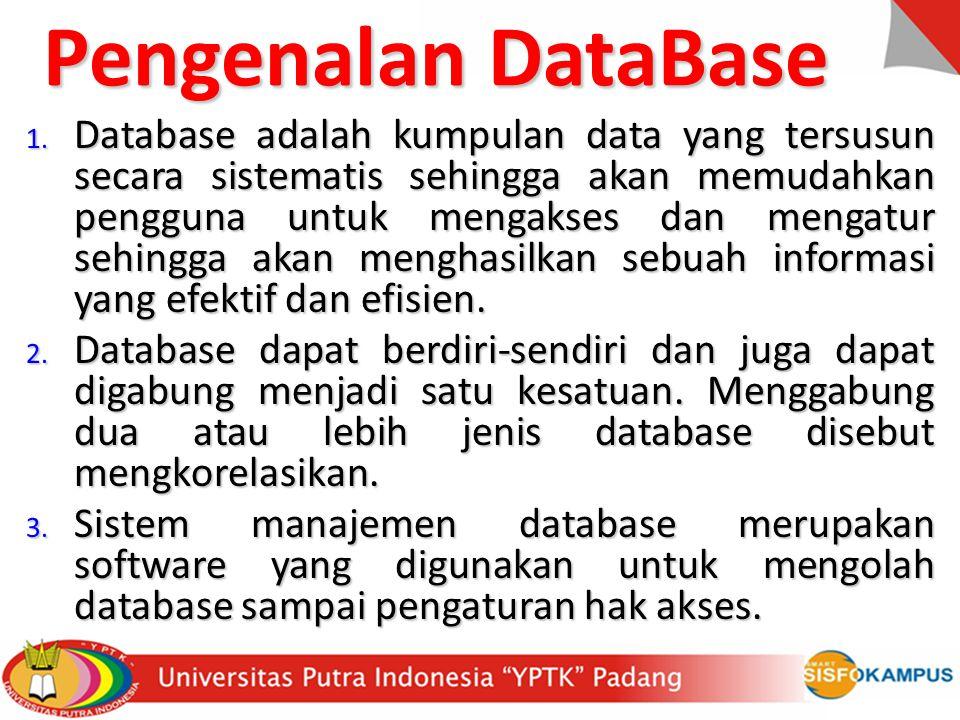 Basis Data: Himpunan kelompok data (arsip) yang saling berhubungan, yang diorganisasi sedemikian rupa, sehingga kelak dapat dimanfaatkan kembali dengan cepat.