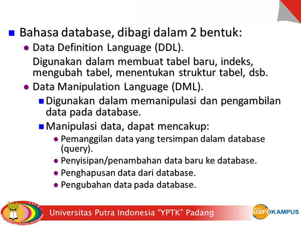 Untuk memasukkan data ke tabel: insert into namatabel values('kolom1','kolom2', …); Untuk memasukkan data ke tabel: insert into namatabel values('kolom1','kolom2', …); Contoh: insert into tbl_karyawan values(0001,'Soe','Jl.