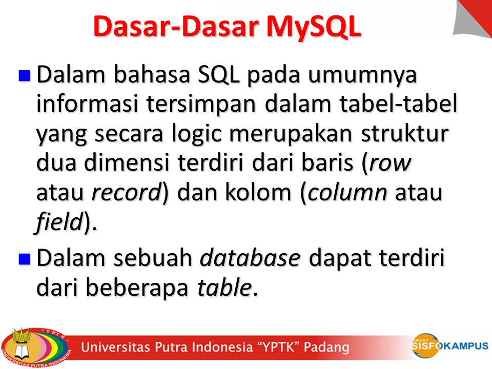 Tipe data field: Data yang terdapat pada tabel berupa field- field yang berisi nilai dari data tersebut.