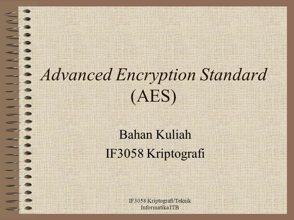 Advanced Encryption Standard (AES) Bahan Kuliah IF3058 Kriptografi IF3058 Kriptografi/Teknik Informatika ITB