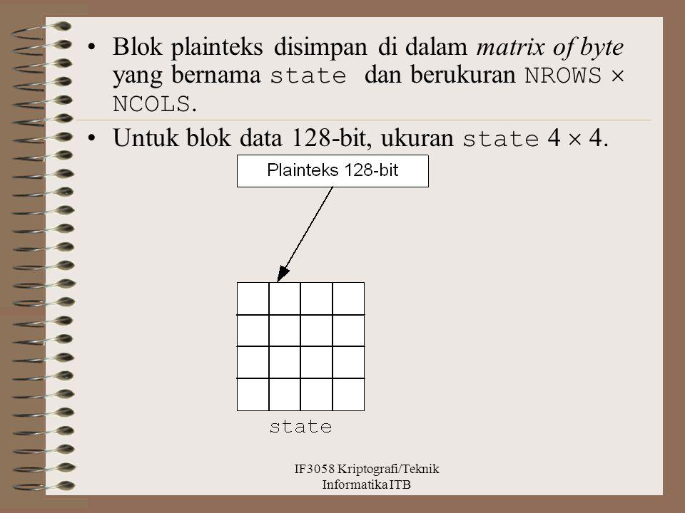 Blok plainteks disimpan di dalam matrix of byte yang bernama state dan berukuran NROWS  NCOLS. Untuk blok data 128-bit, ukuran state 4  4. IF3058 Kr