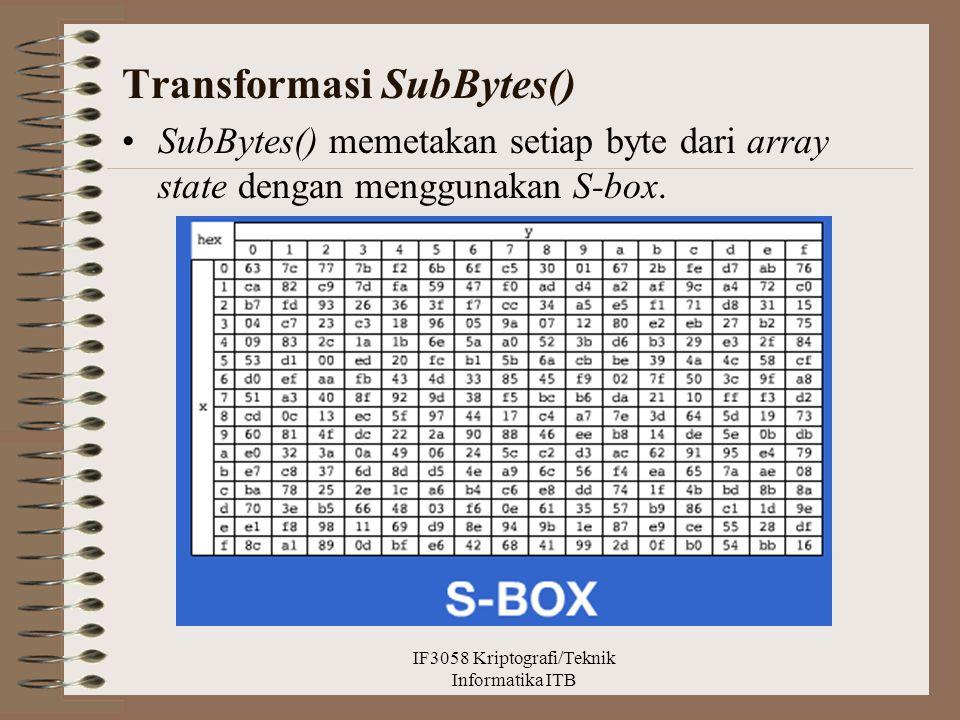 Transformasi SubBytes() SubBytes() memetakan setiap byte dari array state dengan menggunakan S-box. IF3058 Kriptografi/Teknik Informatika ITB