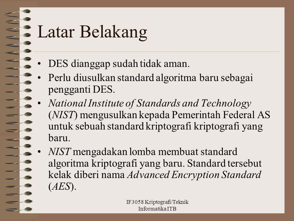 Latar Belakang DES dianggap sudah tidak aman. Perlu diusulkan standard algoritma baru sebagai pengganti DES. National Institute of Standards and Techn
