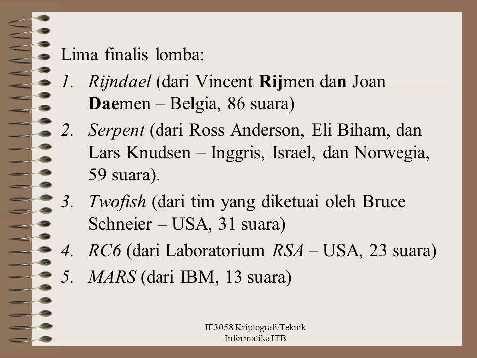 Lima finalis lomba: 1.Rijndael (dari Vincent Rijmen dan Joan Daemen – Belgia, 86 suara) 2.Serpent (dari Ross Anderson, Eli Biham, dan Lars Knudsen – I