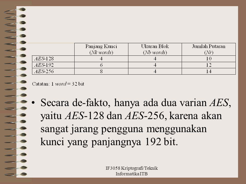 Secara de-fakto, hanya ada dua varian AES, yaitu AES-128 dan AES-256, karena akan sangat jarang pengguna menggunakan kunci yang panjangnya 192 bit. IF