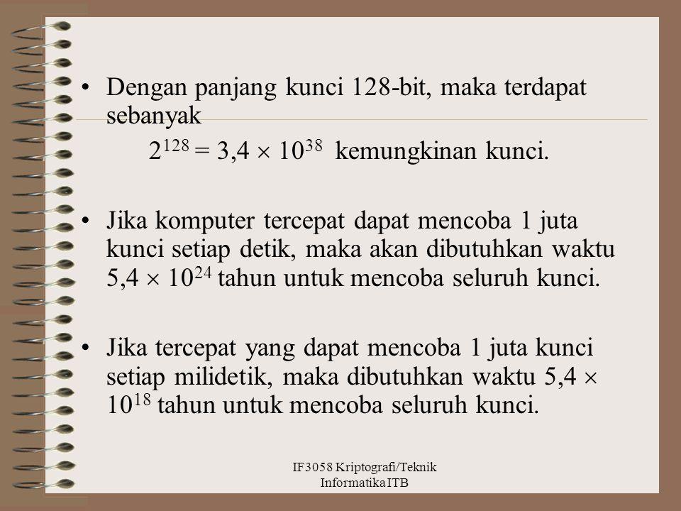 Dengan panjang kunci 128-bit, maka terdapat sebanyak 2 128 = 3,4  10 38 kemungkinan kunci. Jika komputer tercepat dapat mencoba 1 juta kunci setiap d
