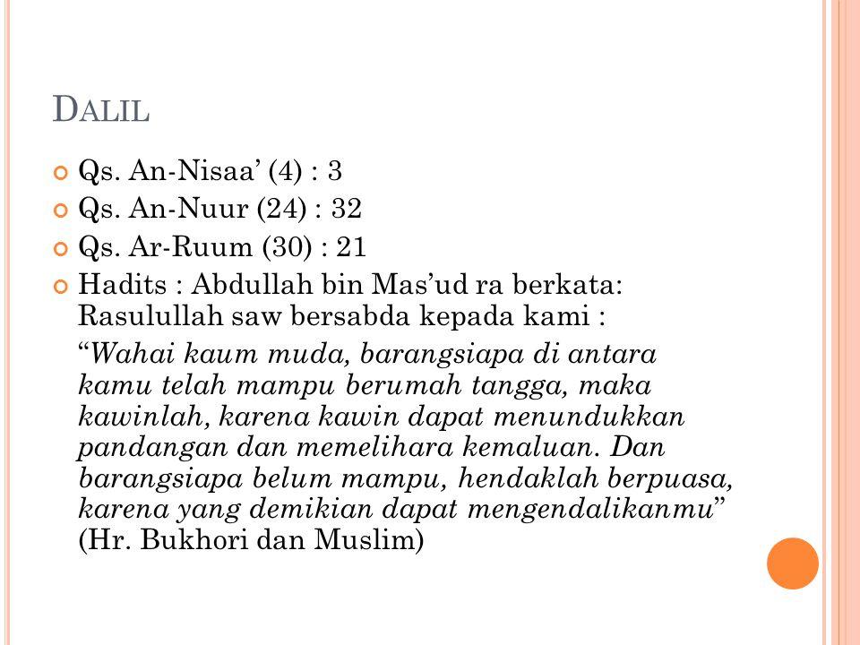 D ALIL Qs. An-Nisaa' (4) : 3 Qs. An-Nuur (24) : 32 Qs. Ar-Ruum (30) : 21 Hadits : Abdullah bin Mas'ud ra berkata: Rasulullah saw bersabda kepada kami