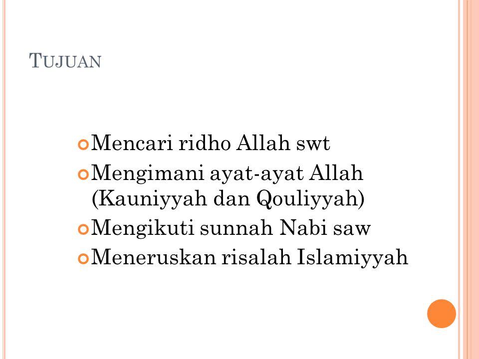 T UJUAN Mencari ridho Allah swt Mengimani ayat-ayat Allah (Kauniyyah dan Qouliyyah) Mengikuti sunnah Nabi saw Meneruskan risalah Islamiyyah