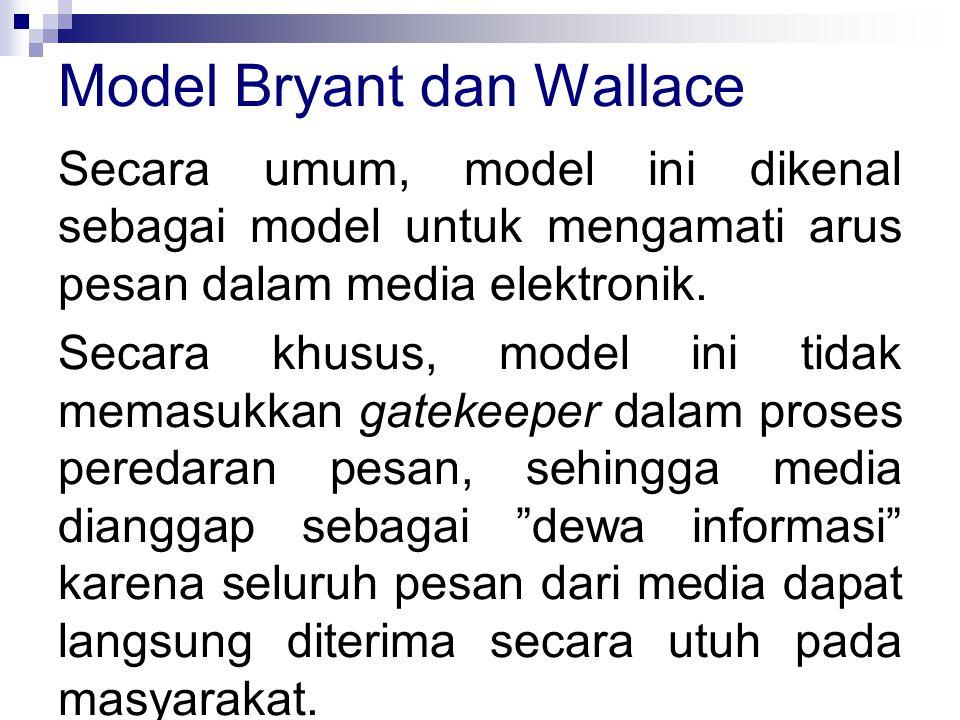 Secara umum, model ini dikenal sebagai model untuk mengamati arus pesan dalam media elektronik. Secara khusus, model ini tidak memasukkan gatekeeper d
