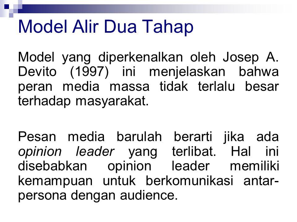 Model yang diperkenalkan oleh Josep A. Devito (1997) ini menjelaskan bahwa peran media massa tidak terlalu besar terhadap masyarakat. Pesan media baru