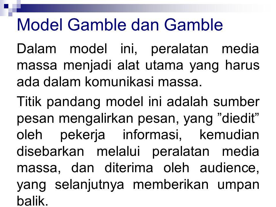 Dalam model ini, peralatan media massa menjadi alat utama yang harus ada dalam komunikasi massa.