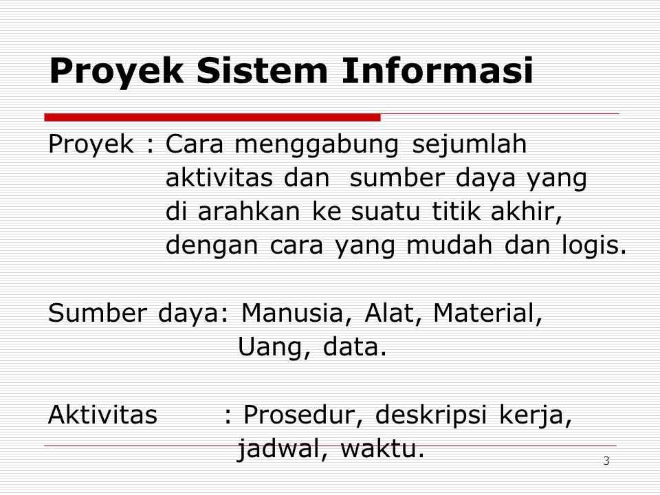 Proyek Sistem Informasi Proyek : Cara menggabung sejumlah aktivitas dan sumber daya yang di arahkan ke suatu titik akhir, dengan cara yang mudah dan logis.