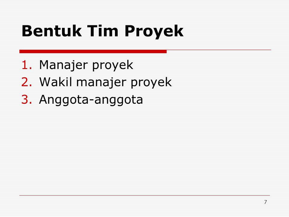 Bentuk Tim Proyek 1.Manajer proyek 2.Wakil manajer proyek 3.Anggota-anggota 7