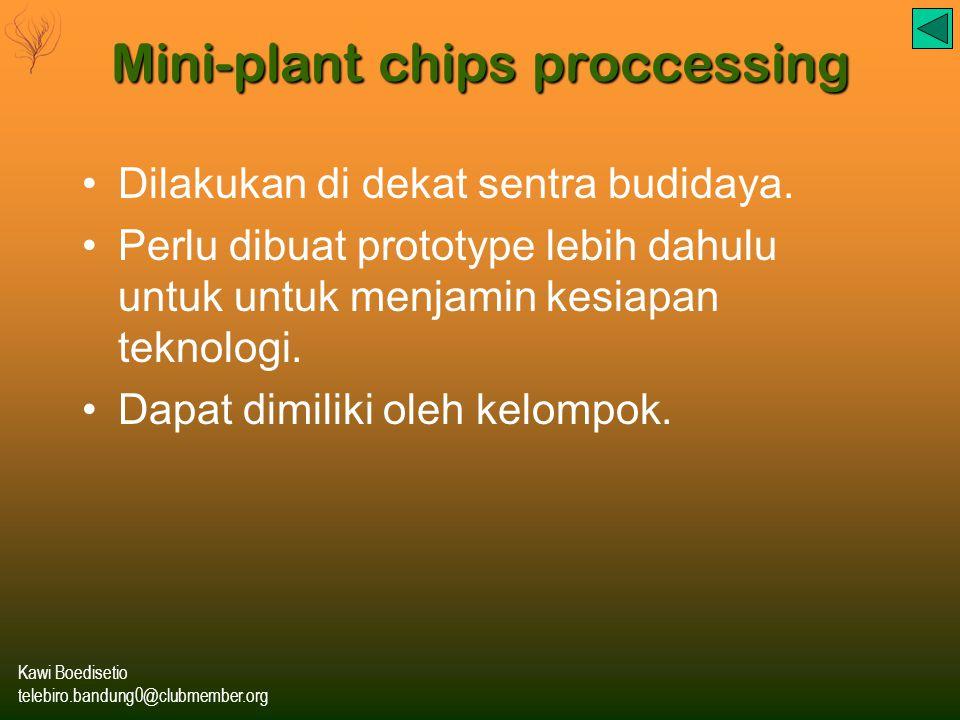 Kawi Boedisetio telebiro.bandung0@clubmember.org Mini-plant chips proccessing Dilakukan di dekat sentra budidaya.