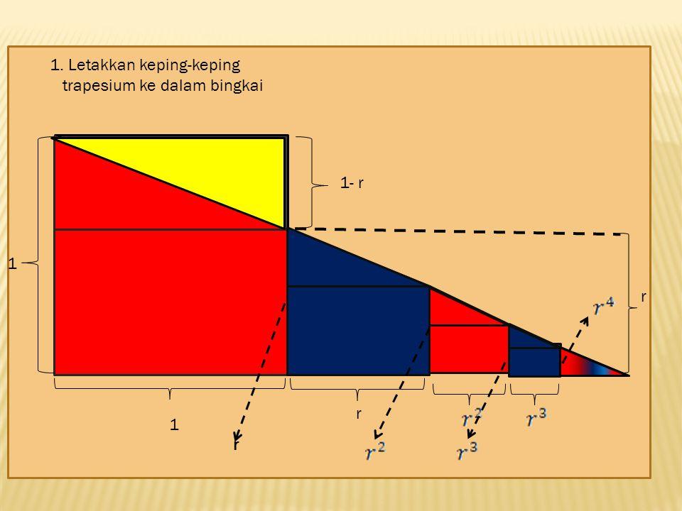 1. Letakkan keping-keping trapesium ke dalam bingkai 1 11- r r r r