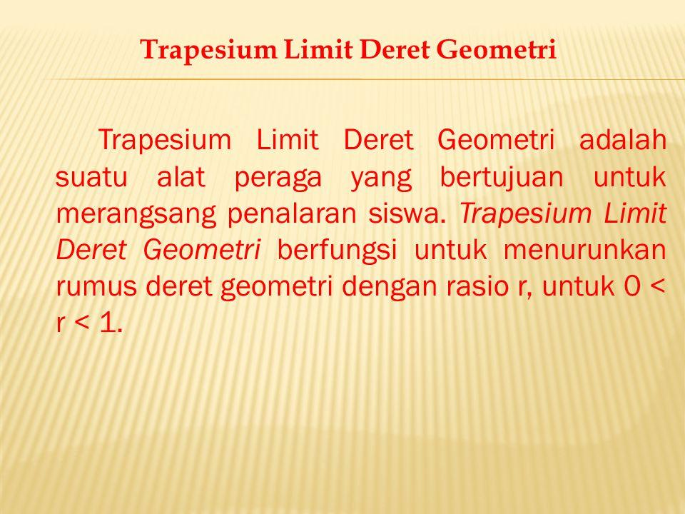 Trapesium Limit Deret Geometri adalah suatu alat peraga yang bertujuan untuk merangsang penalaran siswa. Trapesium Limit Deret Geometri berfungsi untu