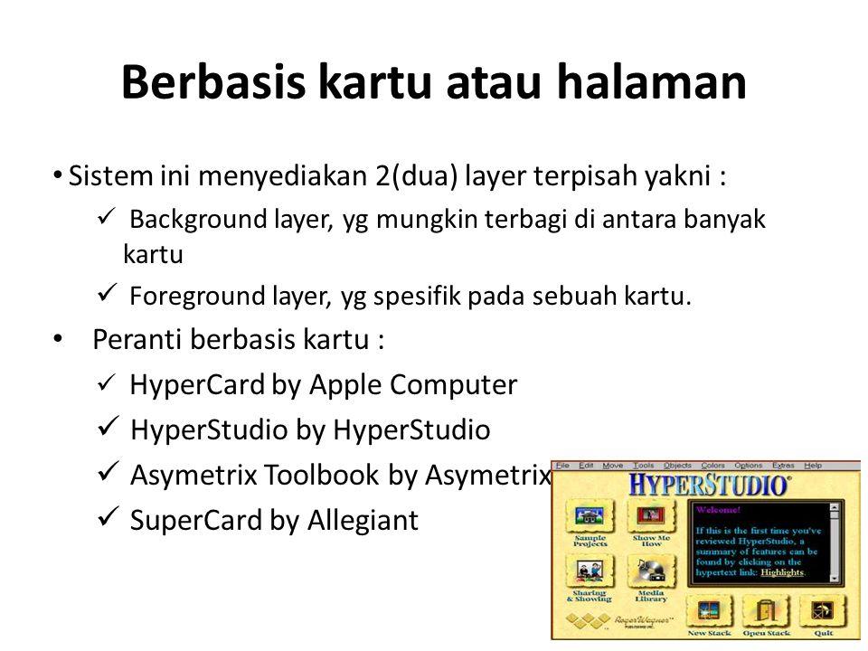 Berbasis kartu atau halaman Sistem ini menyediakan 2(dua) layer terpisah yakni : Background layer, yg mungkin terbagi di antara banyak kartu Foregroun