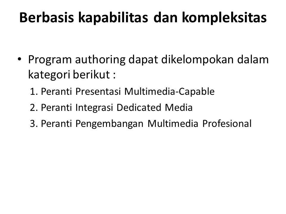 Berbasis kapabilitas dan kompleksitas Program authoring dapat dikelompokan dalam kategori berikut : 1. Peranti Presentasi Multimedia-Capable 2. Perant
